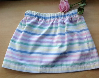 Rainbow Skirt, Cotton Skirt, Little Girl's Skirt, Child's Skirt, Handmade Skirt, Rainbow Coloured Skirt, Pastel Skirt, Pastel Girl's Skirt