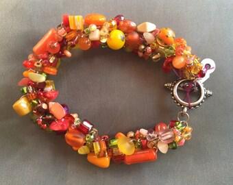 Handbeaded chunky bracelets