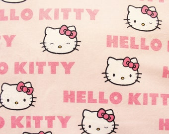 Hello Kitty Flannel, Flannel Fabric, Flannelette Fabric, Cotton, Pink, Sewing Blanket Quilting Supplies, Retro Hello Kitty Writing, 1 Metre