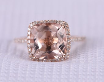 9mm Big Cushion pink morganite Engagement ring,14k Rose gold,gemstone,diamond Wedding Band,halo and 8 prongs,Personalized for her/him,Custom