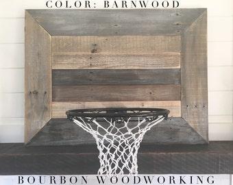 Rustic Reclaimed Wood Backboard With Basketball Hoop For Wall