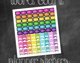 Rainbow Pop Word Count and Word Goal Printable Planner Stickers for Writers