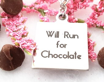 Chocolate Lover Gift, CrossFit Fitness Gifts for Runners, Chocoholic Necklace, Chocolate Gifts, Unique Jewelry, Running Word Quotes Charms