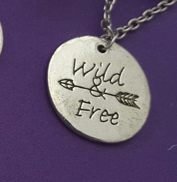 Wild and Free Charm Necklace, Sports Jewelry, Fitness Necklace, Runner Charms, Inspirational Gifts, Surfer Hiker Gifts, Team Outdoor Gifts