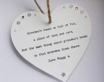 Grandma gift personalised Heart Plaque keepsake Grandma Granny Nana Nanny