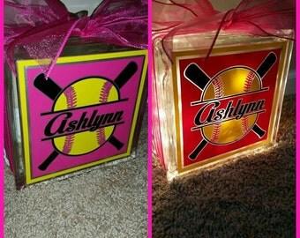 Personalized softball 8x8 lighted glass block