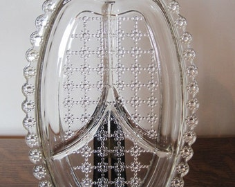 Relish Dish, Glass Dish, Divided Dish, Relish Plate