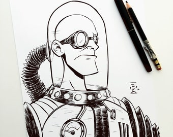 "Mr Freeze Ink Drawing 8.5"" X 11"" in."