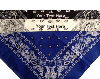 Custom Embroidery (Personalized) Embroidered Bandana (Scarf) Black/White/Royal
