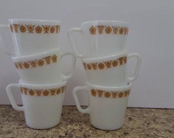 Butterfly gold Pyrex mugs
