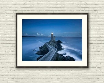 Sea Photography Nautical Decor - Lighthouse photography  - Wall Art  photo - landscape photography - Blue landscape.