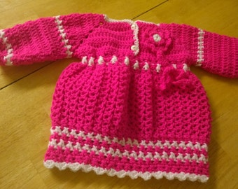 Cute Pink Handknitted Dress for 0-3 month-old Baby