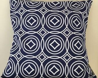 "Navy and white geometric pattern handmade cushion 18"" x 18"""