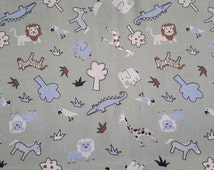 zoo animals cotton jersey - baby fabric - zoo fabric - knit fabric - sold by meter - uk - gender neutral fabric