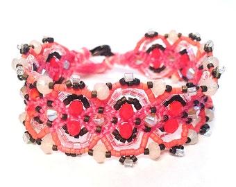 Pink & Coral Color Block Beaded Frienship Bracelet | Embellished Woven Bracelet