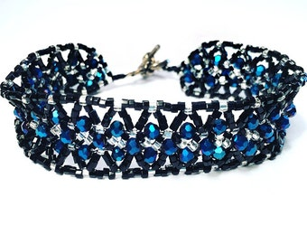 Black, Silver & Blue Beaded Bracelet