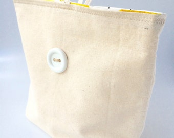 Reversible Lunch Bag, Hemp Linen, Cotton, Snack Bag, Lunch Pouch