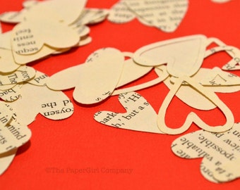Vintage Book Page Heart Confetti, Variety [200 pieces]