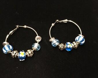 Vintage Hoop Earings with Beads, Silvertone, Blues, Florals