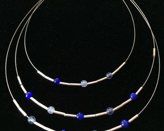 Vintage Choker Necklace, Silvertone, Blue Ball Beads