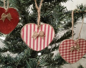 RUSTIC CHRISTMAS ORNAMENTS  Set of 3