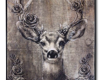 "Deer Head With Roses 02, print on wood, 14.5 x 10.5"", hand-colored deer print, deer head, Whitetail deer, home decor, wall art"