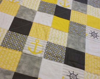 Yellow-grey-nautical-baby -toddler-quilt- baby shower gift- poka dot
