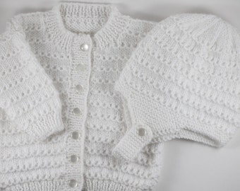 White Knit baby cardigan with hat, 3 to 6 months - White baby sweater