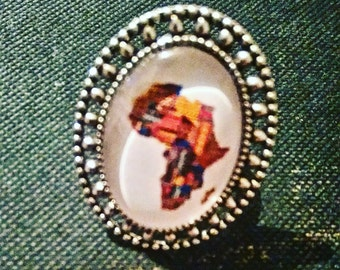 ring oval silver 'Africa'