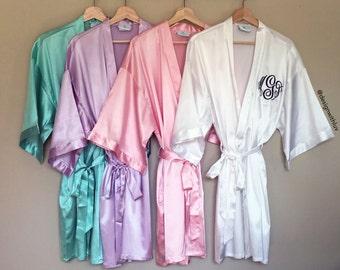 Bridesmaid Robes, Bridesmaid gifts, Bridal party gift, satin kimono robe, satin robes, bridesmaid satin robe, Bride robe, bridal robe (R004)