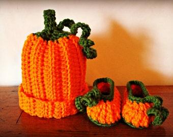 Little Pumpkin Hat and Bootie Set