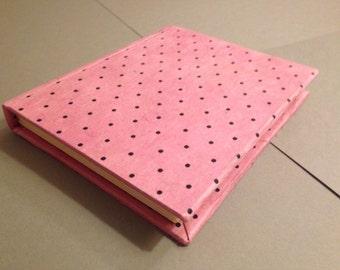Handmade Hand Sewn Blank Notebook/Sketchbook Black Polkadots on Pink
