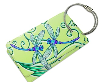 Delicate Dragonfly Suitcase Bag ID Luggage Tag Set