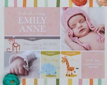 Safari Animals Birth Announcement, Baby Girl Announcement, Baby Boy Announcement – DEPOSIT