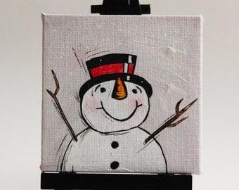 Happy Snowman miniature acrylic painting