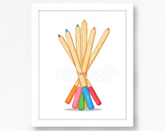 Bouquet of Colored Pencils Wall Art - Child Room Decor - Colored Pencils Art - Pencils Art Print, Art Print, Colored Pencils Drawing