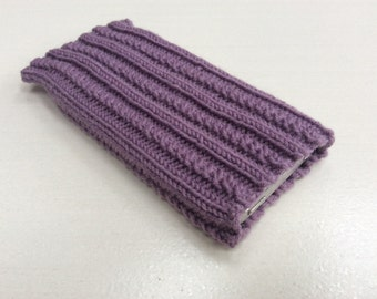 Knitted iPhone sock for SE,  4, 4S, 5, 5S, smartphone cover case, purple lilac