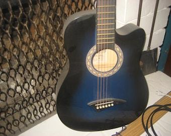 Blue Acoustic 6 string Guitar - Dean Playmate