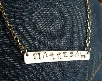 Handmade stamped name necklace *Gold or silver*