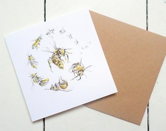 Honey bee card, worker bee, bee illustration, bee greetings card, blank card, thinking of you, every day card, bee keeper cards, insect card