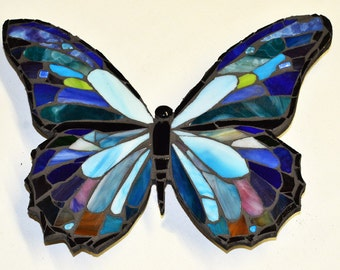 Blue Morpho Stained Glass Mosaic Art