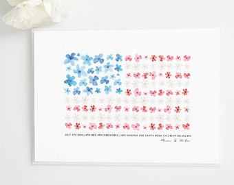 Watercolor American Flag 4th of July Party Invite | BBQ invitation