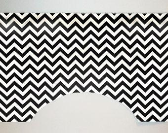 Premier Prints Zig Zag Chevron Stripe Custom Valance Curtain, Black and White, Lined