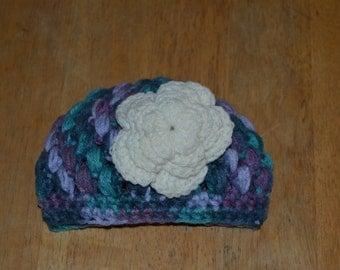 Baby Crochet Cap w/Flower