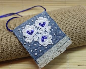 Jeans Boho Pendant, Jeans Necklace, Bohemian Jewelry