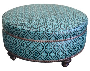 """Leather Teal Ottoman 36"""""""