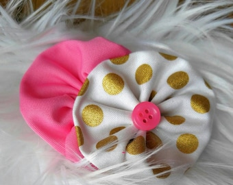 Gold and Pink Hair bow/pink hair accessory/gold and pink.
