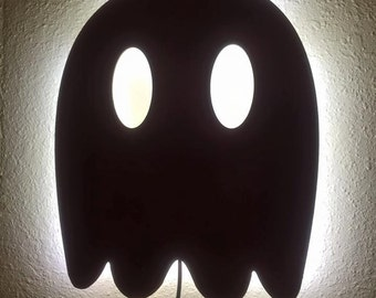 Wooden LED Back lit Pac-man Ghosts Wall Light - FREE SHIPPING