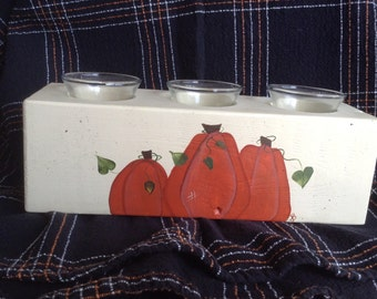 Pumpkin Sugar Mold Hand Painted 3 candle holder