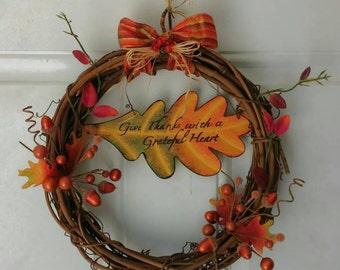 Harvest leaf grapevine 15-inch Wreath..